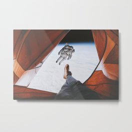 Camping in space Metal Print