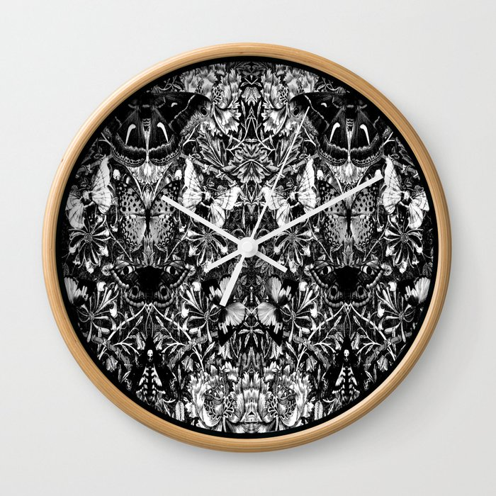 Black and White Honeysuckle and Moths Wall Clock