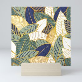 Leaf wall // navy blue pine and sage green leaves golden lines Mini Art Print