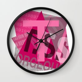 """Pink Colored """"T"""" Design Wall Clock"""