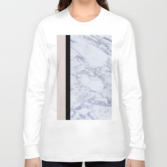 Modern minimalist blush marble Long Sleeve T-shirt