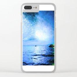 blue fire Clear iPhone Case