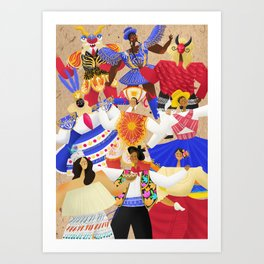 Peruvian Folk Dance Characters Art Print