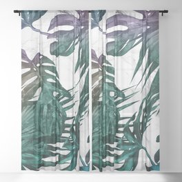 Tropical Palm Leaves on Marble Sheer Curtain