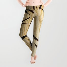 Japanese bamboo buddha wood art Leggings