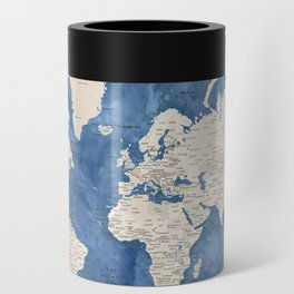 Light brown and blue watercolor detailed world map Can Cooler