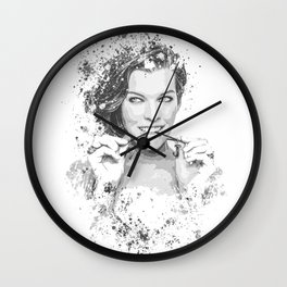 Milla Jovovich splatter painting Wall Clock