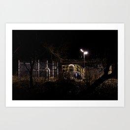 Sewer pipes at night Art Print