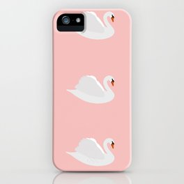 white swan on pink iPhone Case