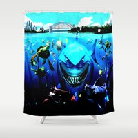 finding nemo Shower Curtains featuring nemo by Marwan Baghdadi