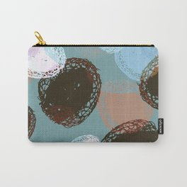 Graphic Seed Pods Turquoise and Brown Carry-All Pouch