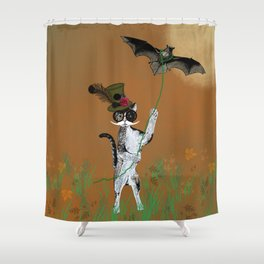 Cat Walking His Bat Shower Curtain