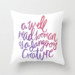 Well Read Woman - Girl Nerd Quote - Gradient Throw Pillow