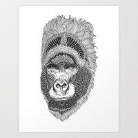 GORILLA-HEAD Art Print
