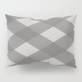 Pantone Pewter Gray Argyle Plaid Diamond Pattern Pillow Sham
