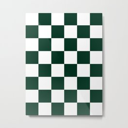 Large Checkered - White and Deep Green Metal Print