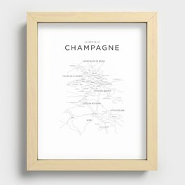 Champagne map Recessed Framed Print