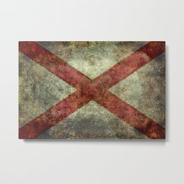 Alabama State Flag - Grungy Version Metal Print