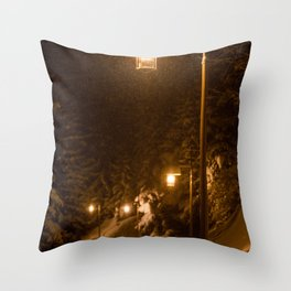 Snowy Forest Street Lamp Walking Path Throw Pillow