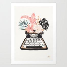 Floral Typewriter Art Print