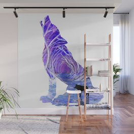 Wild Forest Wolf - Purple Blue Wall Mural
