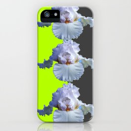 MODERN WHITE IRIS DIVIDED CHARTREUSE & GREY ART iPhone Case
