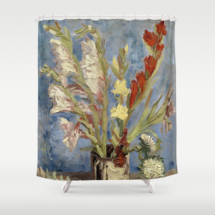 Vase with gladioli and China asters by Vincent Van Gogh Shower Curtain