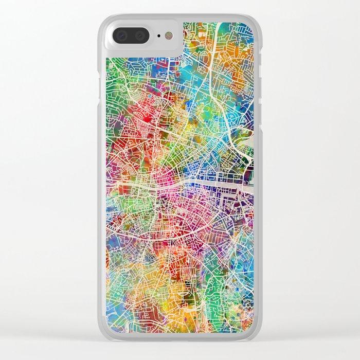 Dublin Ireland City Map Clear iPhone Case