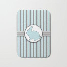 Blue Rabbit Stripes Pattern Design Bath Mat