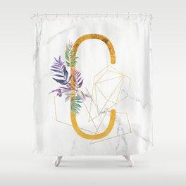 Modern glamorous personalized gold initial letter C, Custom initial name monogram gold alphabet prin Shower Curtain