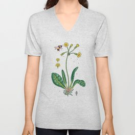 yellow cowslip and bee Unisex V-Neck
