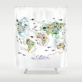 Cartoon animal world map for children, kids, Animals from all over the world, back to school, white Shower Curtain