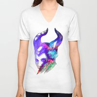 maleficent V-neck T-shirts featuring Maleficent by Ryky