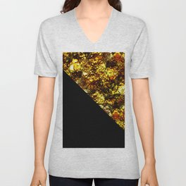 Golden Triangle - Abstract, geometric, Black And Gold Foil Artwork Unisex V-Neck