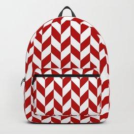 Red and White Herringbone Pattern Backpack