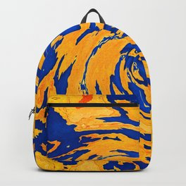 New planet world storm wave of yellow land and blue sea abstract map pattern swirl and design Backpack
