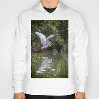hunting Hoodies featuring Egret Hunting by Chris Lord