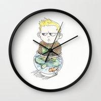 aquaman Wall Clocks featuring Baby Arthur by Eric Dockery