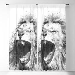 Black White Fierce Lion Blackout Curtain
