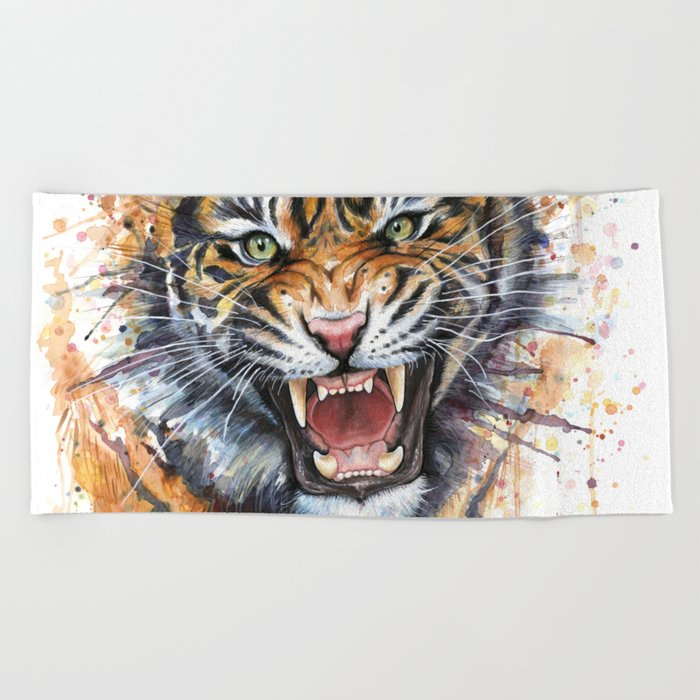 Tiger Roaring Wild Jungle Animal Beach Towel