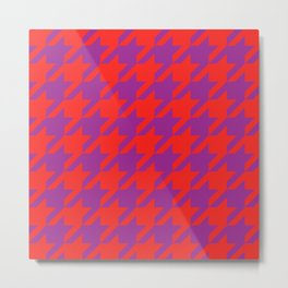 Red & Purple Psychedelic Houndstooth Metal Print
