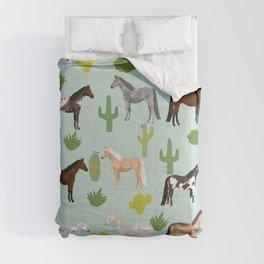 Horses Cactus - horse, cactus, western, texas, cowgirl, girl, cactus fabric, blanket, horse Comforters