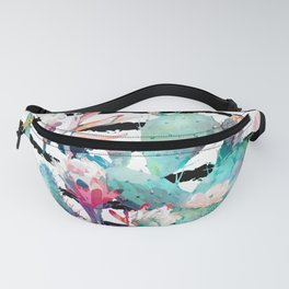 Pretty watercolor cactus floral and stripes design Fanny Pack