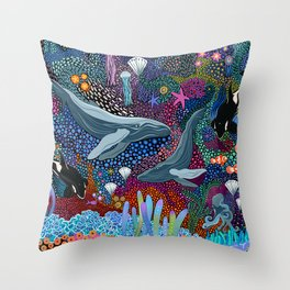 Whale Ocean Life Throw Pillow
