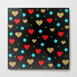 hearts modern pattern Metal Print