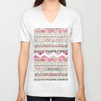 preppy V-neck T-shirts featuring Aztec Spring Time! | Girly Pink White Floral Abstract Aztec Pattern by Girly Trend