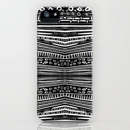 Linocut Tribal Pattern iPhone Case