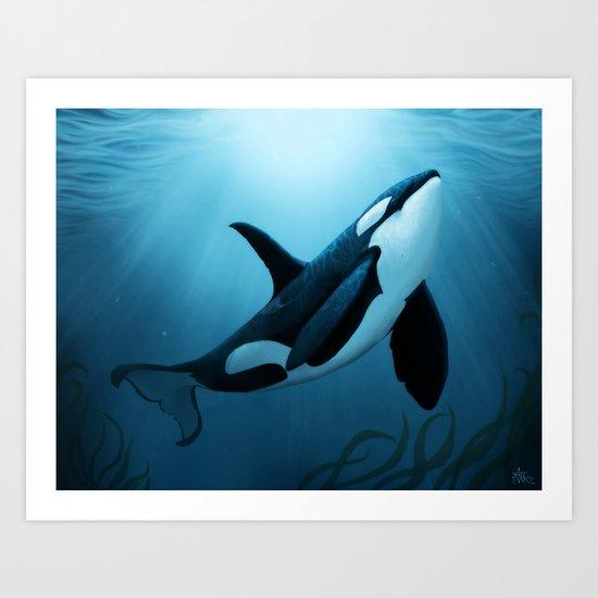"""The Dreamer"" by Amber Marine ~ Orca / Killer Whale Art, (copyright 2015) Art Print"