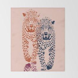Kitten Club - Navy, Orange & Purple Leopard Print by Kristen Baker Throw Blanket