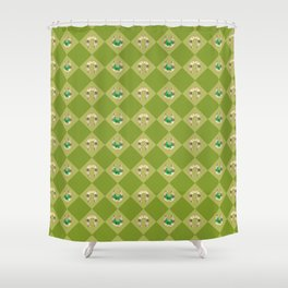 Gold horseshoe with clover Shower Curtain